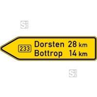 Verkehrszeichen StVO, Pfeilwegweiser auf Bundesstraßen, linksweisend, Höhe 450 mm, einseitig, Schrifthöhe 105 mm, zweizeilig Nr. 415-10