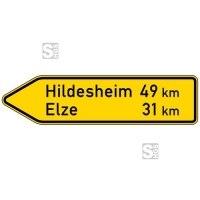 Verkehrszeichen StVO, Pfeilwegweiser auf sonstigen Straßen, linksweisend, Höhe 450 mm, einseitig, Schrifthöhe 105 mm, zweizeilig Nr. 418-10