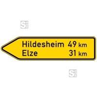 Verkehrszeichen StVO, Pfeilwegweiser auf sonstigen Straßen, linksweisend, Höhe 500 mm, einseitig, Schrifthöhe 126 mm, zweizeilig Nr. 418-10