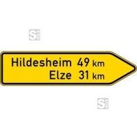 Verkehrszeichen StVO, Pfeilwegweiser auf sonstigen Straßen, rechtsweisend, Höhe 350 mm, einseitig, Schrifthöhe 105 mm, einzeilig Nr. 418-20