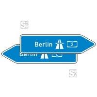 Verkehrszeichen StVO, Pfeilwegweiser zur Autobahn, doppelseitig, Höhe 450 mm, Schrifthöhe 105 mm, zweizeilig Nr. 430-40