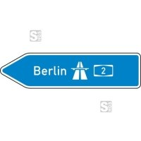 Verkehrszeichen StVO, Pfeilwegweiser zur Autobahn, linksweisend, Höhe 350 mm, einseitig, Schrifthöhe 105 mm, einzeilig Nr. 430-10