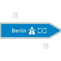 Verkehrszeichen StVO, Pfeilwegweiser zur Autobahn, rechtsweisend, Höhe 500 mm, einseitig, Schrifthöhe 126 mm, zweizeilig Nr. 430-20