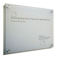 Wandschilder, Wegweiser -Cristallo- mit 1 Scheibe aus Sicherheitsglas, inkl. Edelstahlhalter