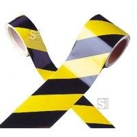 Warnmarkierungsband gelb / schwarz, Länge 11 m, hochwertige Ausführung
