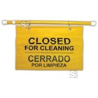 Warnschild -Closed for Cleaning-, hängbar, mit Teleskopstab, mehrsprachig