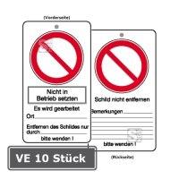 Wartungsanhänger mit Verbotszeichen und Zusatztext, VE 10 Stück, Nicht in Betrieb setzen