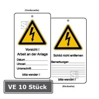 Wartungsanhänger mit Warnzeichen und Zusatztext, VE 10 Stück, Vorsicht! Arbeit an der Anlage