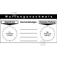 Wartungsnachweis für Prüfplaketten an Maschinen und Geräten