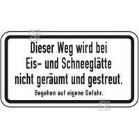 Winterschild / Verkehrszeichen, Dieser Weg wird bei Eis- und Schneeglätte ...