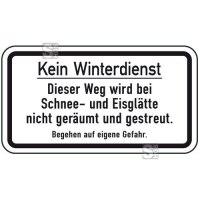 Winterschild / Verkehrszeichen, Kein Winterdienst - Dieser Weg wird bei Schnee- und Eisglätte ...