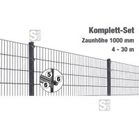 Zaunpaket -MIC- Komplett-Set, Höhe 1000 mm, 4 - 30 m, mit Pfosten und Matten