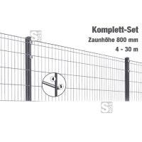 Zaunpaket -Michl- Komplett-Set, H 800 mm, L 4-30 m, inkl. Pfosten, Matten und Befestigungsmat.