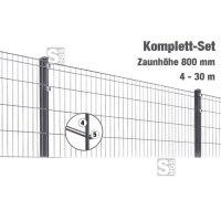 Zaunpaket -Michl- Komplett-Set, Höhe 800 mm, 4 - 30 m, mit Pfosten und Matten