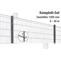 Zaunpaket -Michl- Komplett-Set, Zaunhöhe 1200mm, L 4-30m, mit Pfosten, Matten u. Befestigungsmat.