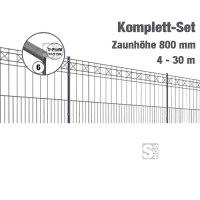 Zaunpaket -Pisa- Komplett-Set, Höhe 800 mm, Länge 4-30m, mit Pfosten, Matten und Befestigungsmat.