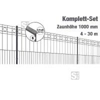 Zaunpaket -Turin- Komplett-Set, H 1000mm, Länge 4-30m, inkl. Pfosten, Matten und Befestigungsmat.