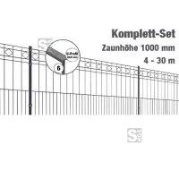 Zaunpaket -Turin- Komplett-Set, Höhe 1000 mm, 4 - 30 m, mit Pfosten und Matten