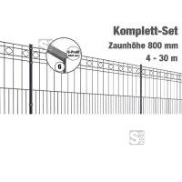 Zaunpaket -Turin- Komplett-Set, Zaunhöhe 800 mm, Länge 4-30 m, inkl. Pfosten, Matten und Befestigungsmaterial