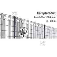Zaunpaket -Valencia- Komplett-Set, Höhe 1000 mm, 4 - 30 m, mit Pfosten und Matten
