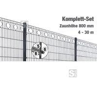 Zaunpaket -Valencia- Komplett-Set, Höhe 800 mm, 4 - 30 m, mit Pfosten und Matten