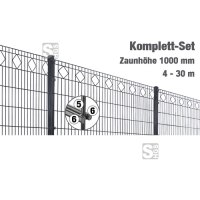 Zaunpaket -Valencia- Komplett-Set, Zaunhöhe 1000 mm, Länge 4-30 m, inkl. Pfosten, Matten und Befestigungsmaterial