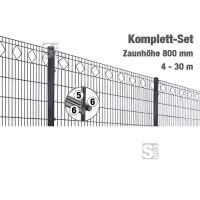 Zaunpaket -Valencia- Komplett-Set, Zaunhöhe 800 mm, Länge 4-30 m, inkl. Pfosten, Matten und Befestigungsmaterial